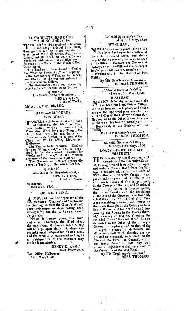 Port Phillip Government Gazette 22 May, 1850 p. 417.bmp