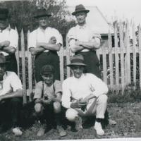 Back row left to right Fred Davis, Roy Davis and Norman Muir - Front row left to right Horrie Davis, Horrie Davis and Paul Didier.jpg